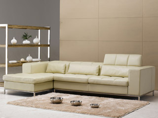 Name:Beige Leather Sectional Sofa, Item id:9910_TOS-FY635 (Medium Image)