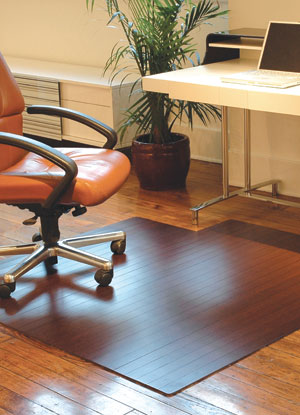 Name:Dark Cherry Bamboo Roll-Up Chair Mat w / Lip Rug, Item id:2410_amb240dc-l (Medium Image)